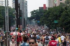 Paulista-Allee - die Haupttouristenattraktion in Sao Paulo, Brasilien lizenzfreies stockfoto