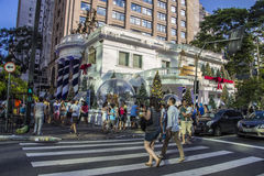 Paulista Avenue - Christmas decorations Royalty Free Stock Photography