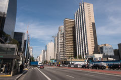 Paulista Avenue is the famous street in Sao Paulo city Royalty Free Stock Images