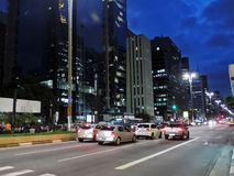 Paulista Avenue at night Stock Photos