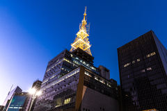 Paulista Avenue at night in Sao Paulo, Brazil Stock Image