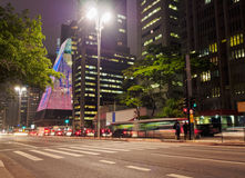 Paulista Avenue in Sao Paulo, Brazil. Brazil, State of Sao Paulo, City of Sao Paulo, Twilight view of the Paulista Avenue Royalty Free Stock Photography