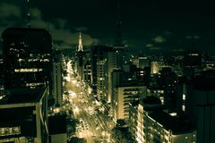 Paulista avenue, Sao Paulo cityscape, panoramic, night