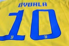 Paulo Dybala FC Juventus Turin jersey. Argentine soccer player Paulo Dybala Italian club FC Juventus Turin jersey Royalty Free Stock Photography