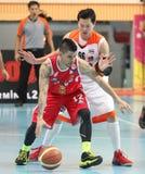 Paulo Hubalde #12 neemt aan een ASEAN-Basketballiga deel  Stock Foto