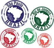 São Paulo, Rio de Janeiro and Brazil City Stamps Stock Photos