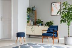 Paume à côté de fauteuil bleu dans l'intérieur plat gris avec les selles, l'affiche et les usines sur le coffret Photo réelle photographie stock libre de droits