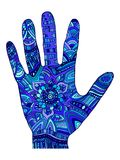 Paume décorative dans les ornements bleus et la couleur bleu-foncé illustration stock