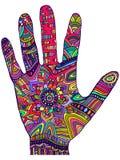 Paume décorative psychédélique de couleur d'arc-en-ciel, style de griffonnage Image libre de droits