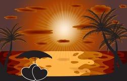 Paume dans le coucher du soleil. Illustration de vecteur. ENV 10 Photos stock