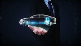 Paume ouverte d'homme d'affaires, électronique, hydrogène, voiture d'écho de batterie d'ion de lithium Batterie de voiture de rem illustration libre de droits