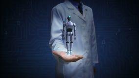 Paume ouverte de docteur, corps tournant de cyborg du robot 3D Intelligence artificielle Technologie de robot