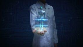 Paume ouverte de docteur féminin, structure squelettique humaine de balayage à l'intérieur de robot Bio technologie cyborg Intell