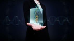 Paume ouverte de femme d'affaires, humain de balayage les organes internes, système de digestion Lumière bleue de rayon X banque de vidéos