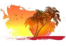 Paume sur le fond de coucher du soleil illustration de vecteur