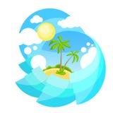 Paume tropicale d'île d'océan de vacances de vacances d'été Illustration Libre de Droits