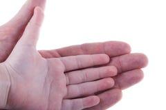 Paumes des enfants main et de l'homme d'adultes d'isolement sur le blanc photos stock