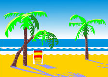 Paumes et présidence de plage Photos stock