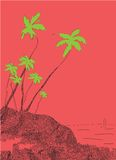 Paumes et soleil, Goa tropical, Inde illustration libre de droits