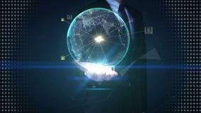 Paumes ouvertes d'homme d'affaires, la terre tournante, service réseau social en expansion, media sur des paumes