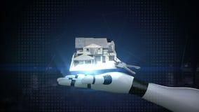 Paumes ouvertes de cyborg de robot, immobiliers, maison construite et clé de maison