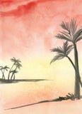 Paumes sur le coucher du soleil sea- illustration stock