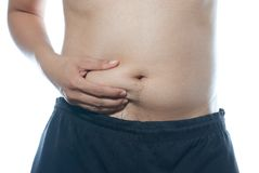 Paunch of belly. On white background Stock Images