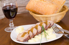 Paupiette served with wine in a restaurant Stock Image