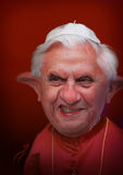 Paus Benedict XVI Karikatuur Stock Afbeelding