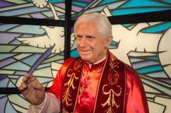 Paus Benedictus XVI bij Mevrouw Tussauds-wasmuseum in Wenen royalty-vrije stock foto's