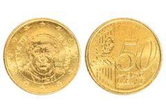 Paus dubbele 50 centen royalty-vrije stock fotografie