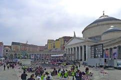 Paus Francis in Napels Piazza Plebiscito na de massa van de Paus Royalty-vrije Stock Foto