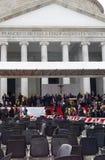 Paus Francis in Napels Piazza Plebiscito na de massa van de Paus Stock Foto's
