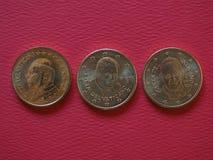Paus Johannes Paulus II, Benedictus XVI en Francis I 50 centenmuntstukken Royalty-vrije Stock Foto's