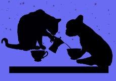 Pausa caffè con il gatto ed il cane alla notte illustrazione di stock