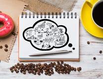 Pausa caffè con lo spuntino Immagine Stock