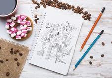 Pausa caffè con lo spuntino Immagini Stock