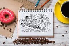 Pausa caffè con lo spuntino Fotografia Stock Libera da Diritti