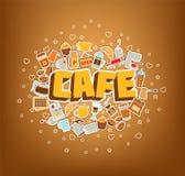 Pausa caffè - manifesto degli elementi di scarabocchio Illustrazione di vettore Illustrazione di Stock