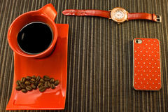 Pausa caffè nei colori rossi Fotografia Stock Libera da Diritti