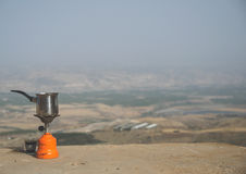 Pausa caffè sopra il Jordan Valley immagine stock
