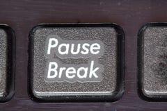 Pausa, close up da ruptura em um teclado. Hora de descansar. imagens de stock royalty free