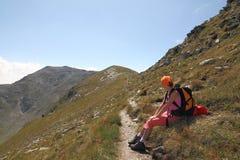 Pausa encima de la montaña Fotografía de archivo