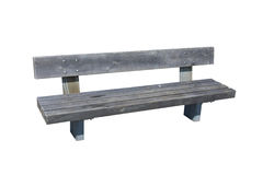 A Pause. Light grey wooden bench isolated over white Royalty Free Stock Images