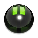 Pause button. Black glass with green reflections and glowing green plastic for pause icon Royalty Free Stock Photography