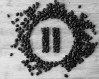 Pause Button made of Coffee Beans. Fresh Brown Coffee Beans forming Pause Button stock photo