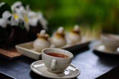 Pause café pour des traitements et la relaxation de station thermale Image libre de droits