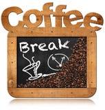 Pause-café - tableau noir avec des grains de café Photographie stock