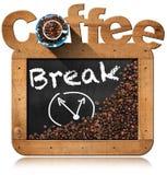 Pause-café - tableau noir avec des grains de café Image stock