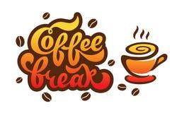 Pause-café - lettrage manuscrit pour le restaurant, menu de café, boutique Image libre de droits